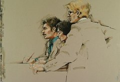 English: Courtroom sketch showing an accused p...