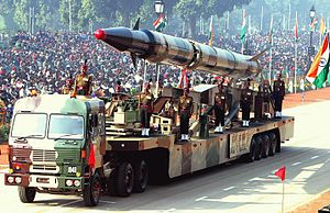 The Agni-II missile being displayed on a mobile launcher during the 2004 Republic Day parade.