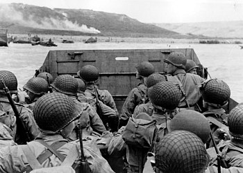 American troops in an LCVP landing craft appro...