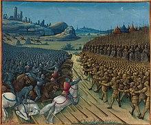 Bataille de Nicopolis. Miniature deJean Colombetirée desPassages d'outremerdeSébastien Mamerot, vers 1474.BNF, Fr.5594, f.263v.