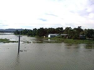English: Flooded villages along Brahmaputra plains