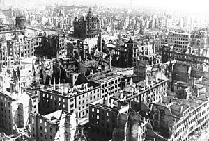 The Pirnaischer Platz in February 1945, with t...