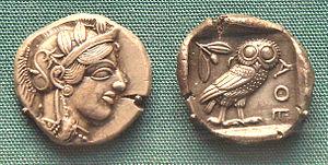 """Early Athenian Coin, an """"owl"""""""