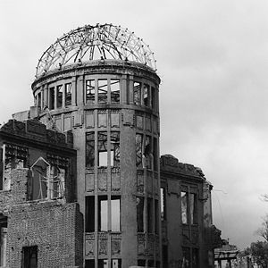 The Hiroshima Genbaku Dome after the bombing.