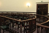 The jury box in the Pershing County, Nevada Courthouse. This jury box is in the middle of the room, which is unusual.