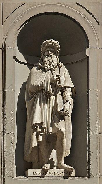 Statue of Leonardo da Vinci signed by Luigi Pa...