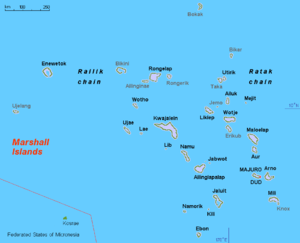 English: Map (rough) Marshall islands, own wor...