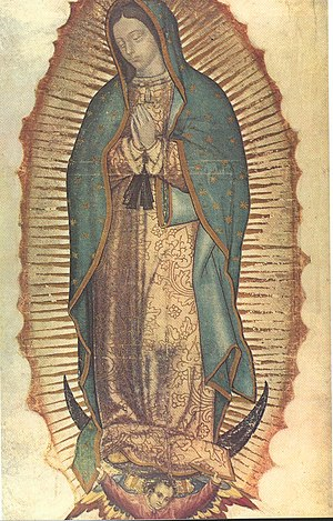 Mary, depicted as Our Lady of Guadalupe