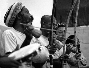 A capoeira bateria led by Mestre Cobra Mansa f...