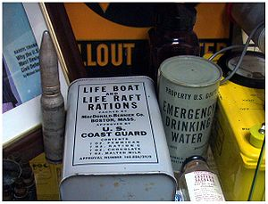 Old emergency rations featured in a display ca...