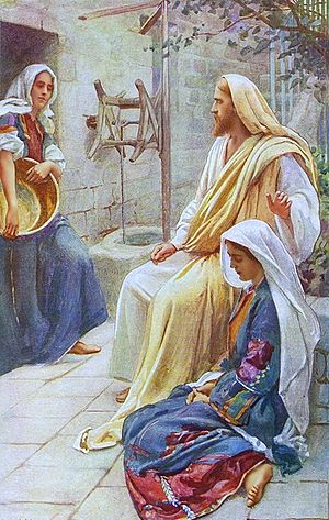 Jesus at the house of Mary and Martha