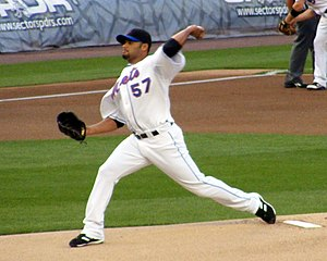 Johan Santana pitching for the New York Mets o...