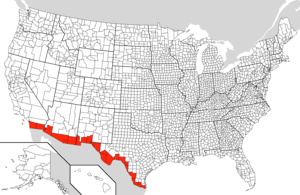 Counties along the w:Mexico-United States border
