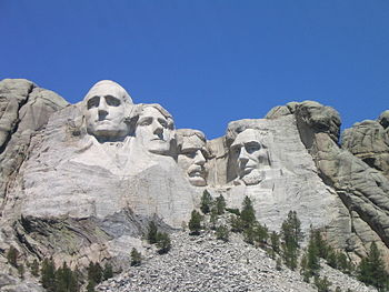 A view of Mount Rushmore in the Black Hills of...