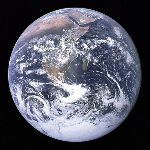 The Blue Marble, photographed on 7th December 1972, by NASA/Apollo 17 crew; taken by either Harrison Schmitt or Ron Evans