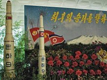 Model of a Unha-9 rocket on display at a floral exhibition in Pyongyang, 30 August 2013