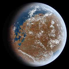 What ancient mars may have looked like billions of years ago. It's based on MOLA data. The elevations have been updated so the shore lines will closely approximate their ancient locations. Also any mountains less than two billion years old have been removed. Credit Ittiz