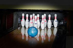 Ten-pin bowling in action