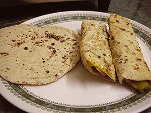 English: Chapati and Chapati Roll