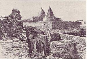 Engraving of the ancient Fakr ad-Din Mosque in...