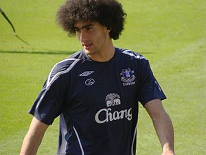 Marouane Fellaini of Everton, before a match a...
