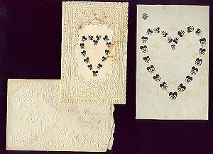 Folk art Valentine and envelope dated 1875 add...