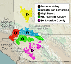 Major subregions of the Inland Empire.