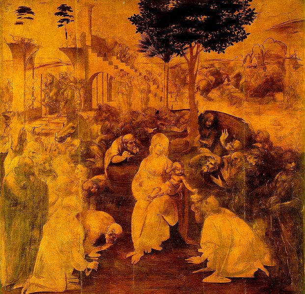 Archivo:Leonardo da Vinci Adoration of the Magi.jpg