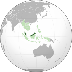 Location of Malaysia (dark green) in ASEAN (light green) and Asia.