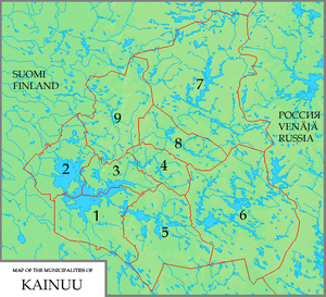 The municipalities of Kainuu: 1. Kajaani 2. Va...
