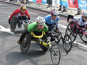 The women's wheelchair race at the 2011 London...