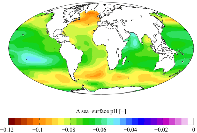 Change in sea surface pH from the pre-industrial period (1700s) to the present day (1990s)