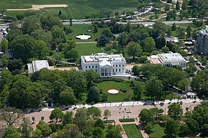 Aerial view of the White House in Washington, D.C.