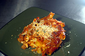 Baked Ziti, a dish with beef, 3 cheeses, and Z...