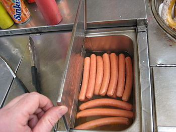 Hot dogs in heated water - NYC Hot dog cart - ...