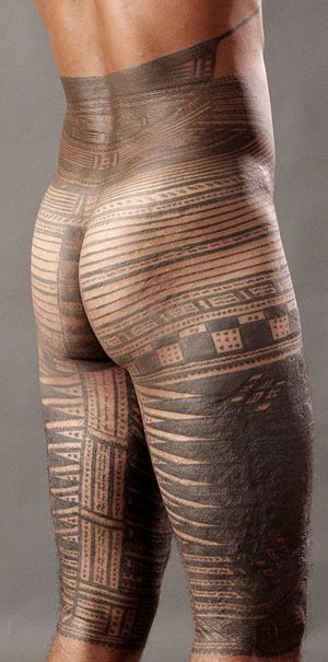 A traditional Samoan male tattoo from the wais...