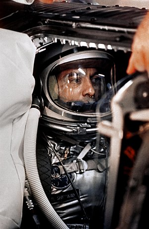 Alan Shepard in capsule aboard Freedom 7 befor...
