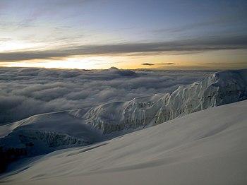 Ascend past Rebmann Glacier Mt. Kilimanjaro