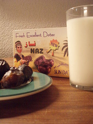 dates and a glass of milk during Ramadan to br...