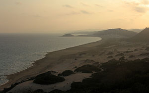 Golden beach at sunset, Karpass Peninsula