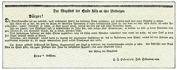 Deutsch: Köln 1797, Aufruf des Magistrats