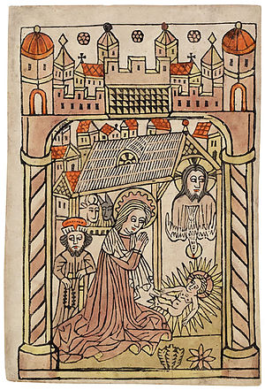 German nativity scene with depiction of Trinit...