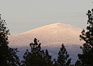 A closeup of the peak of Mount Spokane, as vie...