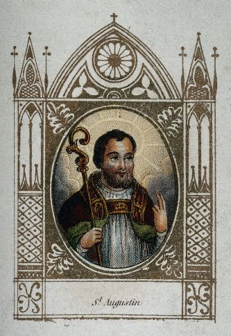 Saint Augustine of Hippo. Coloured engraving. Wellcome V0031639.jpg