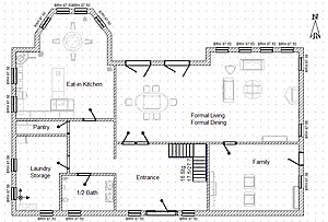 A sample floor plan for a double-family home
