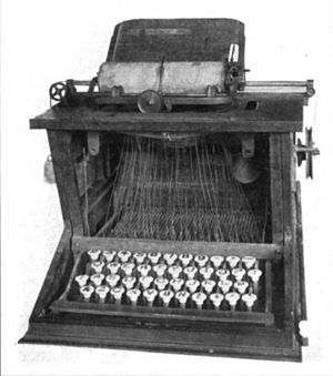 Sholes typewriter, 1873. Museum, Buffalo and E...
