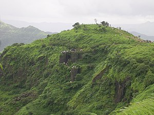 English: View of Sinhagad Fort near Pune. The ...