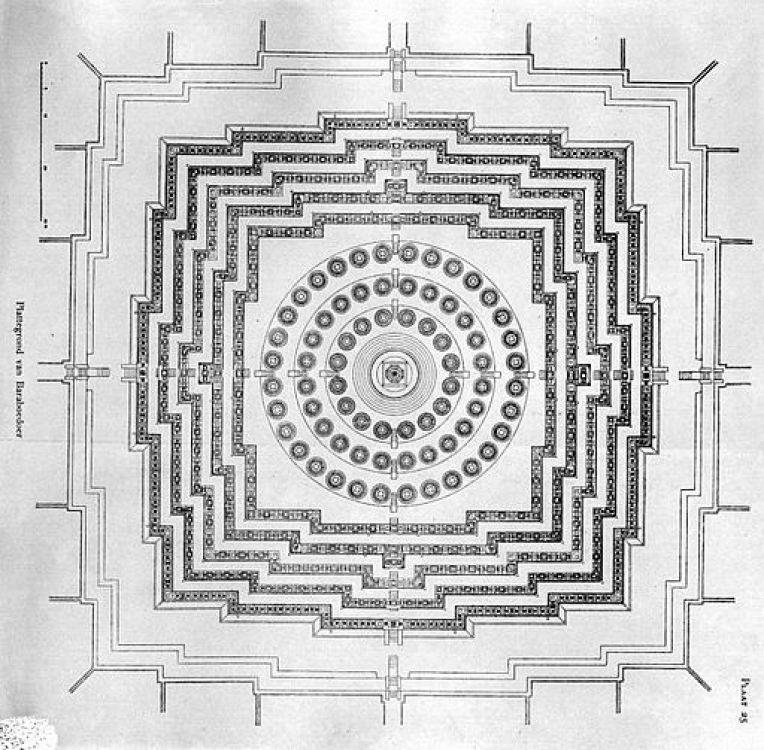 COLLECTIE TROPENMUSEUM Plattegrond van de Borobudur TMnr 10015639