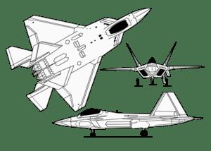 Gambar teknis F-22.