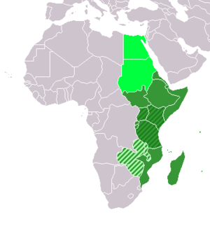 Map indicating Eastern Africa